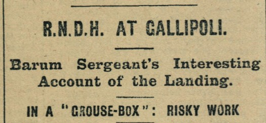 13th January 1916 3 b-c RNDH At Gallipoli